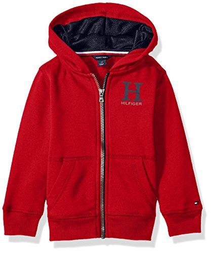 Tommy Hilfiger Boys' Long Sleeve Matt Logo Zip up Hoodie, Bullseye Red, (Bull Kids Hooded Sweatshirt)