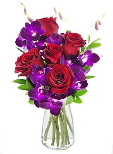 Bouquet of Ruby Orchids and Roses: 5 Red Roses, 5 Purple Dendrobium orchids and Lush Greens with Vase by KaBloom
