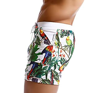 Taddlee Men Swimwear Swimsuits Flower Print Surf Board Boxer Shorts Trunks Long (M)
