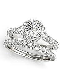 Women's pave' Round-Cut Flower Halo Diamond Bridal Set with Pear Accents Palladium (2.50ct)