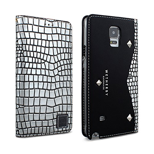 Genuine Cowhide Leather Case (DesignSkin GN4WBBK4302 Galaxy Note 4 Case, Wetherby Genuine Cowhide Premium Leather Handcrafted Unique Luxurious Design ID Credit Card Storage Banknote Slot Wallet Case - Premium Black (Square Silver))