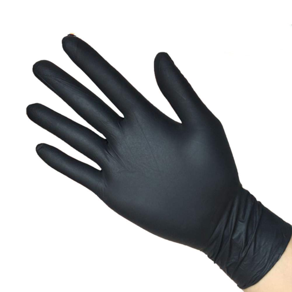 Grade A disposable black NBR latex gloves, laboratory protective oil-proof, industrial tattoos, repair gloves, XL, 100 Black