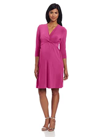 Japanese Weekend Women's Maternity During and After Luxe Jersey Twisty Dress, Fushcia, Medium