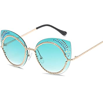 YANJING Lady Metal Gafas de Sol Diamond Decoration Cat Eye ...