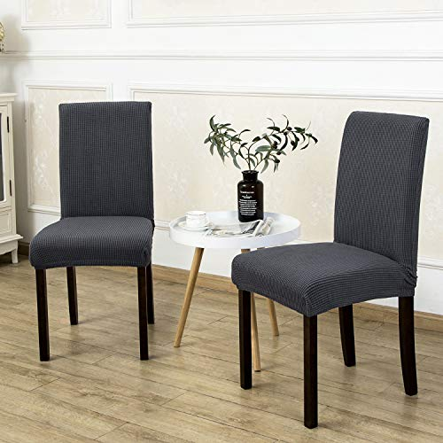 4 Pack Armless Chair Slip Covers for Dining Room Kitchen Slipcovers Soft Jacquard Home Decor Gray