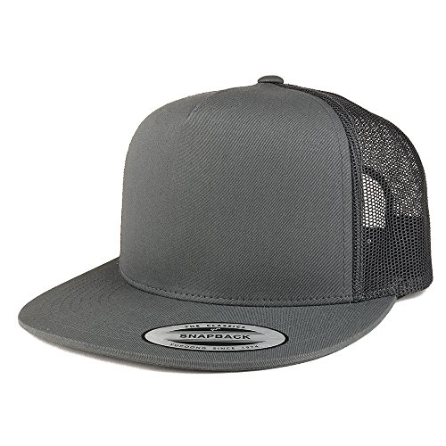 Trendy Apparel Shop Flexfit Brand 5 Panel Classic Trucker Flatbill Mesh Snapback Cap - Charcoal