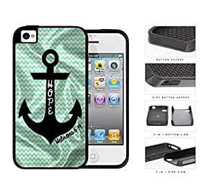 Hebrews 6:19 Teal Chevron And Anchor 2-Piece Dual Layer High Impact Rubber Silicone Cell Phone Case Apple iPhone 4 4s