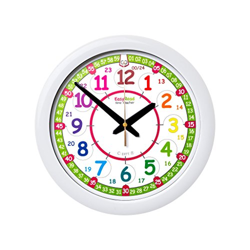 EasyRead Time Teacher Children's Wall Clock ERTT-DIG, 12 & 24 Hour Time, Rainbow Clock Face (Children Clock Wall)