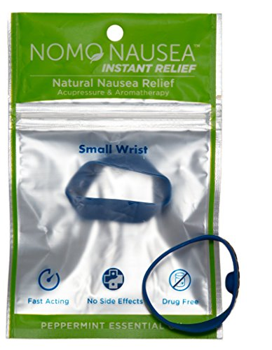 NoMo Nausea Band Blue Small: INSTANT MOTION SICKNESS AROMATHERAPY ANTI NAUSEA BAND for small adult wrists 3.5-6.2″ (for Sea Sickness Relief, & …) Waterproof Peppermint Scented Sea Bands