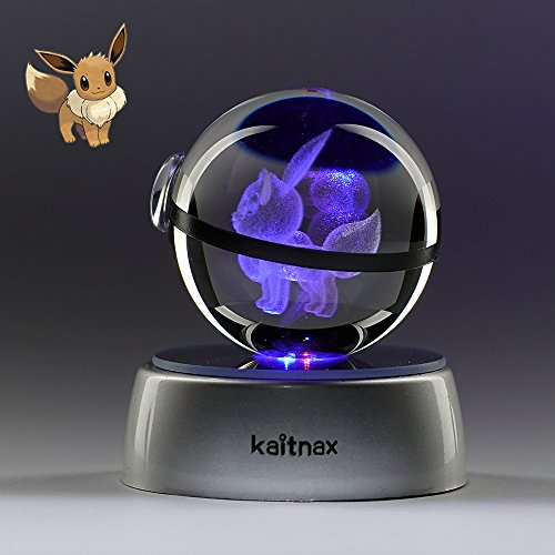 Kaitnax 3D Laser Etched Crystal Ball(50mm) Puzzle With LED Base (Eevee)