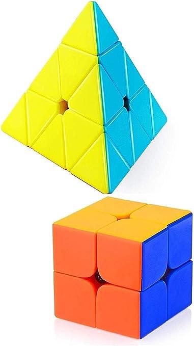Assemble Combo of Stickerless Pyraminx, & 2x2 High Speed Speedy Rubik Magic Puzzle Cube (Multicolour, Pyraminx_2x2_StickCube_Combo)