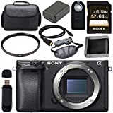 Sony ILCE6300/B Alpha a6300 Mirrorless Digital Camera (Body Only) + NP-FW50 Lithium Ion Battery + Sony 64GB SDXC Card + Mini HDMI Cable + Carrying Case + Remote + Memory Card Wallet Bundle