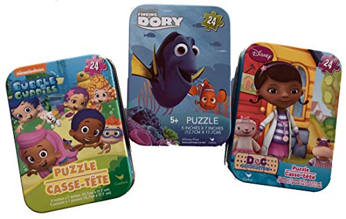 3 Collectible Mini Puzzles in Travel Tins: Bubble Guppies, Doc McStuffins, Dory (24 Pieces) Bundled -