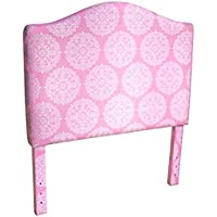 Kinfine Youth Upholstered Twin Headboard, Pink and White Medallion