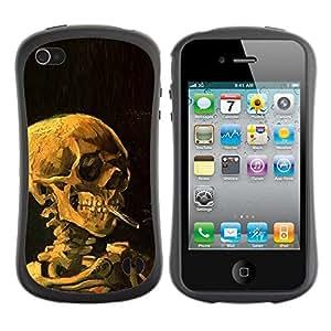 LASTONE PHONE CASE / Suave Silicona Caso Carcasa de Caucho Funda para Apple Iphone 4 / 4S / Smoke Black Deep Meaning Death Metal