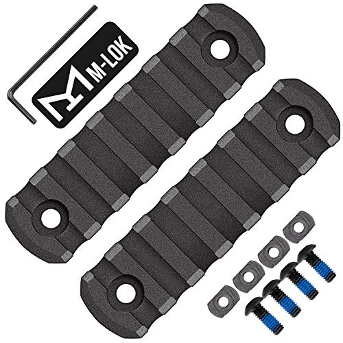 Braudel Industries Polymer M-LOK Rail Section, 7-Slot Lightweight Picatinny Rail Handguard Mount System with Thread Locking Screws, Wrench and Nuts,2 Pack