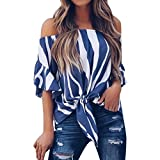 Leedford Women tops Women Striped Off Shoulder Waist Tie Blouse Short Sleeve Casual T Shirts Tops (2XL, Blue)