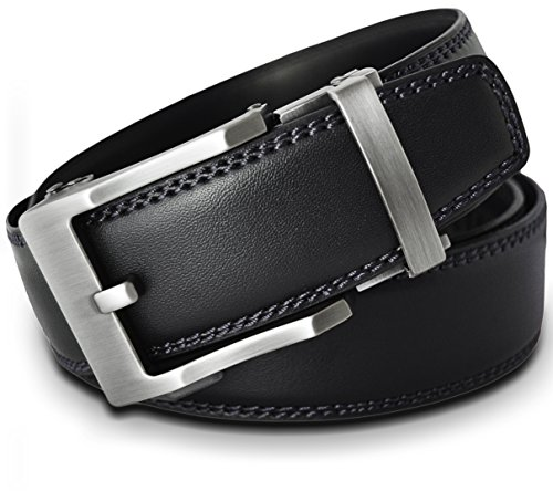 Men's Leather Ratchet Click Belt - Lincoln Matte Silver Buckle with Double Stitched Black Leather Belt (Trim to Fit: Up to 38'' ()