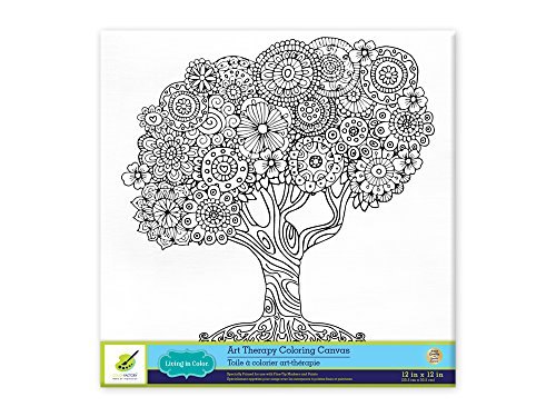 Living in Color Art Therapy Stretch Artist Canvas  Primed, 12in x 12in, Color your own beautiful design on Canvas, Family Tree
