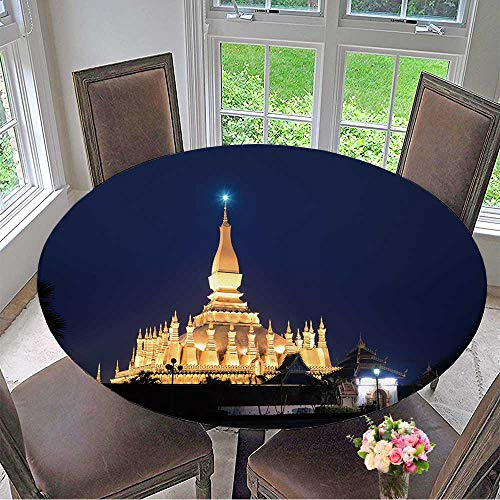 Granite Pagoda - Mikihome Round Premium Table Cloth Night Shot of PHA That Luang Old Golden Buddhist Pagoda in Vientiane Twilight time,Laos Perfect for Indoor, Outdoor 31.5