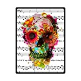 Blankets Custom Music Symbols & Cool Floral Sugar Skull Custom Fleece 58'' x 80'' (Large)