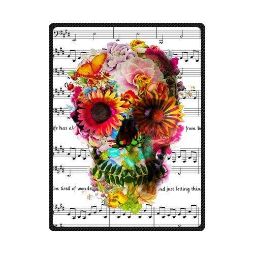 Blankets Custom Music Symbols & Cool Floral Sugar Skull Custom Fleece 58'' x 80'' (Large)