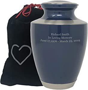Custom Engraved Modern Moonlight Blue Cremation Urn - Blue with Silver Accents, Adult Cremation Urn