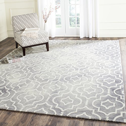 (Safavieh Dip Dye Collection DDY538C Handmade Geometric Moroccan Watercolor Grey and Ivory Wool Area Rug (10' x 14'))