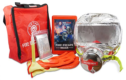Deluxe Fire Escape Safety Kit with 60 Minute Smoke Protection & Gas Mask, Heat Reflective Mylar Thermal Blanket, Heat Resistant Gloves, and Bright Glow Stick, Plus Instructions by Go Time Gear