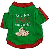 ღ Ninasill ღ Christmas Puppy Dog Clothes Christmas Cookies Interlock Green Seal Pet Shirt (L, Green)