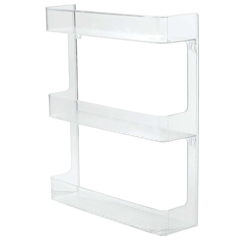 InterDesign Linus Wall Mounted Spice Organizer Rack for Kitchen Storage – 3 Shelves, Clear