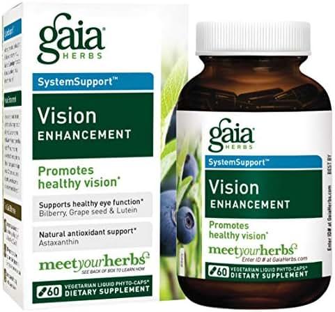 Gaia Herbs Vision Enhancement Liquid Phyto-Capsules, 60 Count