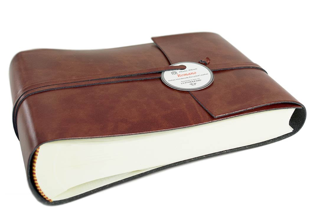 Romano Small Chestnut Handmade Recycled Leather Wrap Photo Album, Classic Style Pages (16cm x 22cm x 6cm)