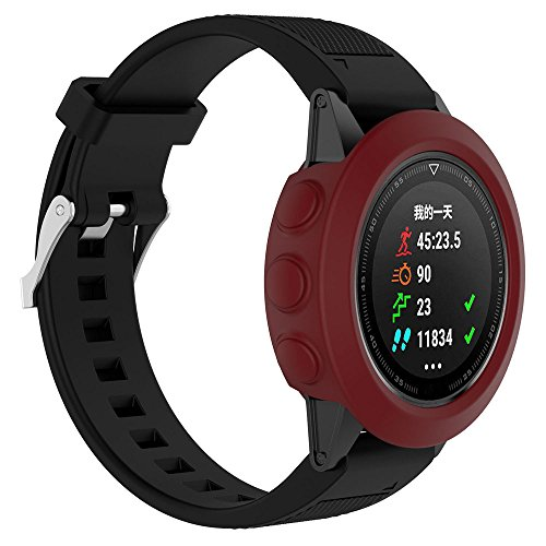 Price comparison product image Sunbona Garmin Fenix Watch Screen Protective Case,  Screen Protector Soft Silicone TPU All-Around Thicken Cover Casing Guard for Garmin Fenix 5 GPS Watch Band,  Anti-Fall,  Scratch Resistant (Red)