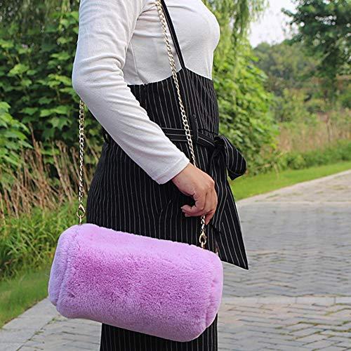 Crossbody Backpack Women White Messenger Bag Grab Bag Rabbit Girls Solid School to Back Backpack Shoulder Color Johlycao Chain Fashion for Fur Cute Faux q84wPB1