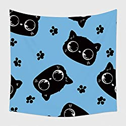 Home Decor Tapestry Wall Hanging Beautiful Packaging Design With A Cats Pattern. Cat With Bright Eyes, A Cute Kitten Vector Image Background Wallpaper for Bedroom Living Room Dorm