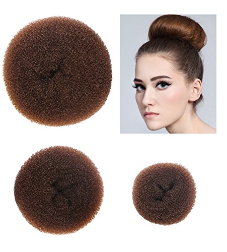 Styla Hair 3 Piece Donut Hair Bun Maker, (1 Small, 1 Medium, 1 Large) - Brown ()