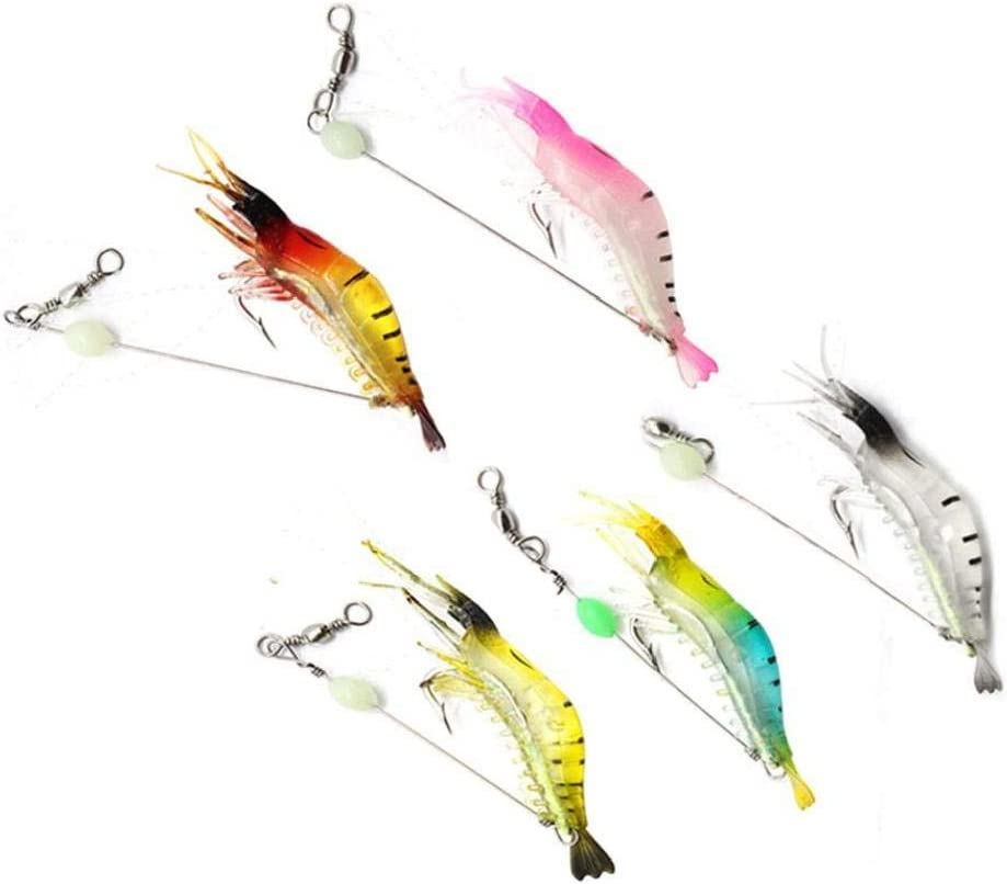 Camarones Cebo Artificial con Ganchos, 5pcs Forma Pesca Señuelos Luminoso Bionic del Camarón por Acampar Al Aire Libre Pesca