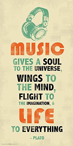 Culturenik Plato Music Inspirational Motivational Quote Decorative Print (Unframed 12x24 Poster)