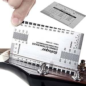 Cuerdas para guitarra eléctrica y que el herramienta de gran calibre regla **De doble cara** - para calibrar alma de eléctrico, guitarras acústicas y bajos: ...