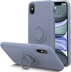 KUMEEK for iPhone Xs/X Case Fingerprint | Kickstand | Anti-Scratch | Microfiber Liner Shock Absorption Gel Rubber Full Body Protection Liquid Silicone Case for iPhone Xs/X-Lavender Grey