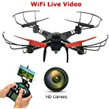 SkyCo Q222K WiFi FPV Rc Drone With Camera Live Video Quadcopter 4 Ch 2.4ghz 6-gyro,Headless System HD One-Key-Return Take Off Barometer Air Pressure Set Helicopter