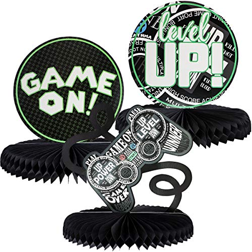 Party Birthday Table Centerpiece (Juvale 3-Pack Video Game Honeycomb Centerpiece, Gamer Birthday Party Supplies, 3 Designs)