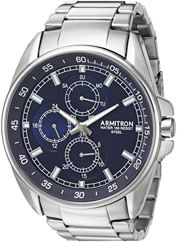 Armitron Men s 20 5224NVSV Multi-Function Dial Silver-Tone Bracelet Watch