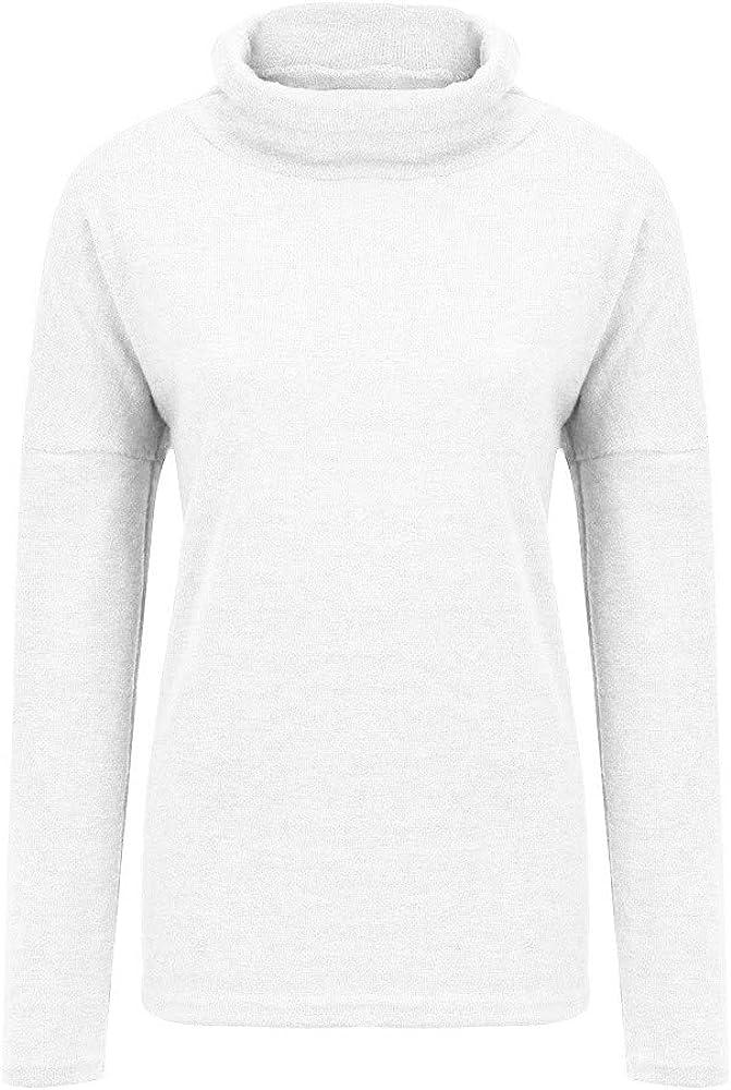 Rambling Fashion New Women Modal Lightweight Long Sleeve Turtleneck Top Casual Knit Blouse