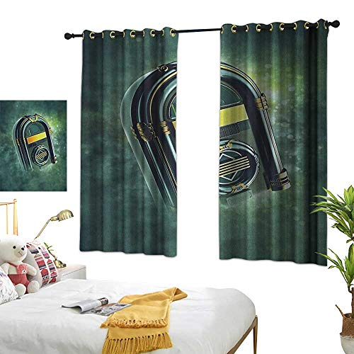 LsWOW Bedroom Curtains W55 x L72 Jukebox,Abstract Grunge Antique Radio Music Box on Blurry Backdrop Print, Forest Green Yellow and White BedroomRoom Darkening,Blackout Curtains Room/Kid's Room