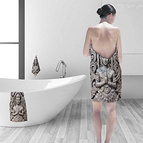 Luxury Elegant Bath Towels Collection Antique Buddha in Traditional Thai Art with Swirling Floral Patterns Carving Japanese Luxury Hotel & Spa Towel by Printsonne