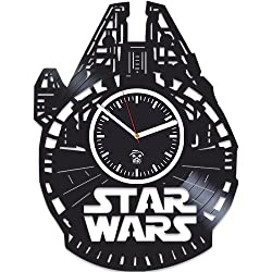 Kovides Vinyl Record Wall Clock, The Force Awakens, Gift for Husband, Birthday Gift, Star Wars, Yoda, Han Solo, Best Gift for Boyfriend, Movie, Silent, Wall Clock Vintage, Gift for Kids