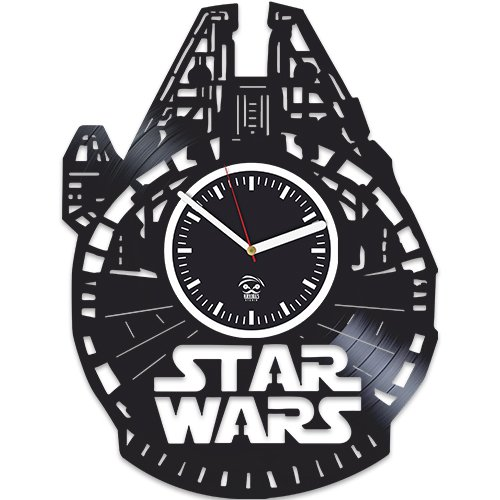 Vinyl Record Wall Clock, Kovides, The Force Awakens, Gift For Husband, Birthday Gift, Star Wars, Yoda, Han Solo, Best Gift for Boyfriend, Movie, Silent, Wall Clock Vintage, Gift For Kids