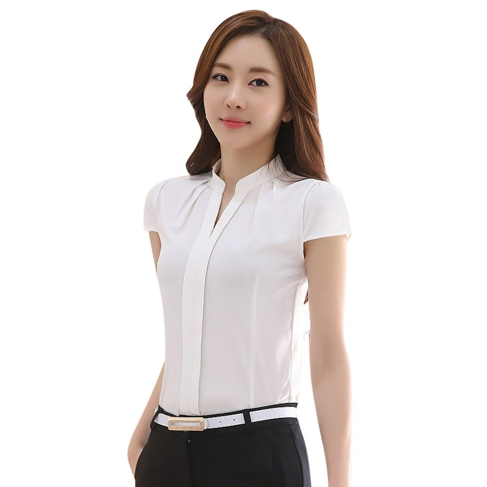 59ce7f4964 Soly Tech Women Short Sleeve Stand Collar Slim Fit Work Tops Blouse Shirts  at Amazon Women's Clothing store: